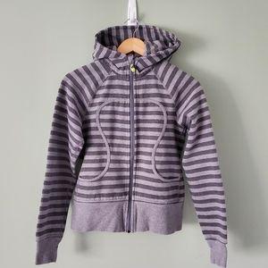 Lululemon grey striped scuba hoodie size 6